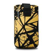Univerzální pouzdro FIXED Velvet, mikroplyš, motiv Yellow Cracks, velikost XL
