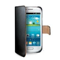 Pouzdro typu kniha CELLY Wally pro Samsung Galaxy S III mini, PU kůže, černé