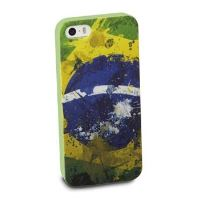 TPU pouzdro CellularLine Mundial pro Apple iPhone 5/5S, vlajka Brazil