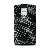Univerzální pouzdro FIXED Velvet, mikroplyš, motiv White Stripes, velikost L