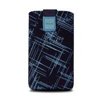 Univerzální pouzdro FIXED Velvet, mikroplyš, motiv Blue Stripes, velikost XL