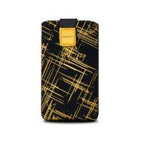 Univerzální pouzdro FIXED Velvet, mikroplyš, motiv Yellow Stripes, velikost XL
