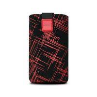 Univerzální pouzdro FIXED Velvet, mikroplyš, motiv Red Stripes, velikost XXL