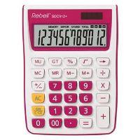 12místná duálně napájená stolní kalkulačka REBELL pro kancelář i domácí použití, fialová