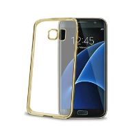 TPU pouzdro CELLY Laser - lemování s kovovým efektem pro Samsung Galaxy S7 Edge, zlaté