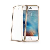 TPU pouzdro CELLY Laser - lemování s kovovým efektem pro iPhone 7 Plus, zlaté