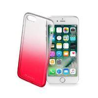 Ultratenký průhledný zadní kryt CellularLine SHADOW pro Apple iPhone 7, TPU, červený