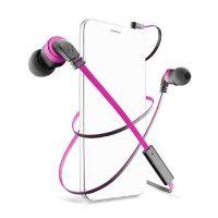 In-ear sluchátka CellularLine Mosquito s mikrofonem, 3,5 mm jack, headset, plochý kabel, černo-růžové