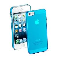 Zadní kryt CellularLine Cool Fluo pro Apple iPhone 5/5S/SE, modrý + fólie
