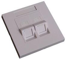 EuroLan modulární UTP zásuvka pod omítku, pro 2x keystone, 45°, bílá, bez keystonů