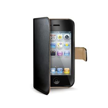 Pouzdro typu kniha CELLY Wally pro Apple iPhone 4/4S, PU kůže, černé