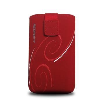 Univerzální pouzdro FIXED Velvet, mikroplyš, motiv Red Spirals, velikost XL