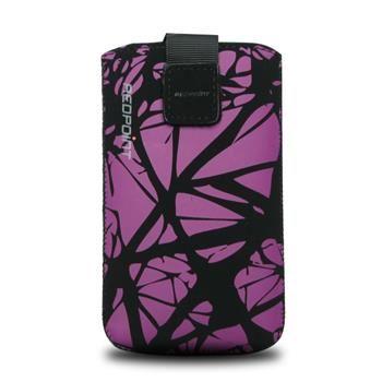 Univerzální pouzdro FIXED Velvet, mikroplyš, motiv Purple Cracks, velikost XL
