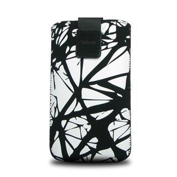Univerzální pouzdro FIXED Velvet, mikroplyš, motiv White Cracks, velikost XL