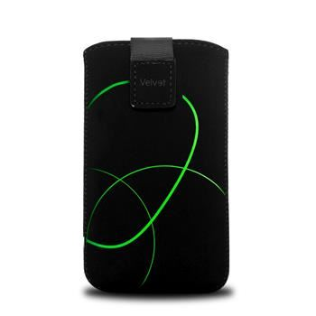 Univerzální pouzdro FIXED Velvet, mikroplyš, motiv Stripe Green, velikost XXL