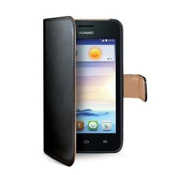Pouzdro typu kniha CELLY Wally pro Huawei Ascend Y330, PU kůže, černé