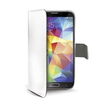 Pouzdro typu kniha CELLY Wally pro Samsung Galaxy S5 / S5 Neo, PU kůže, bílé