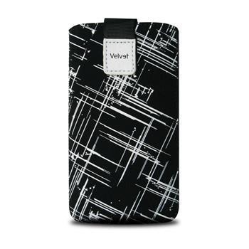 Univerzální pouzdro FIXED Velvet, mikroplyš, motiv White Stripes, velikost XL