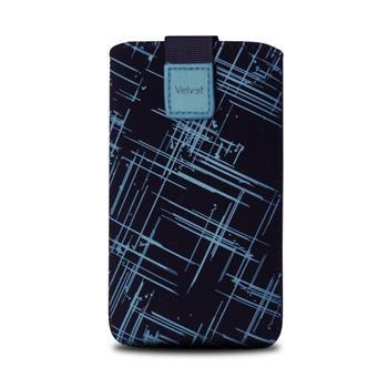 Univerzální pouzdro FIXED Velvet, mikroplyš, motiv Blue Stripes, velikost 4XL
