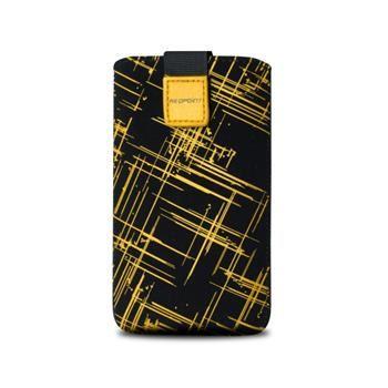 Univerzální pouzdro FIXED Velvet, mikroplyš, motiv Yellow Stripes, velikost L