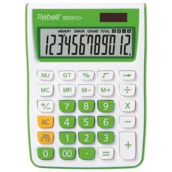 12místná duálně napájená stolní kalkulačka REBELL pro kancelář i domácí použití, zelená