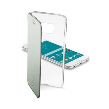 Průhledné pouzdro typu kniha CellularLine Clear Book pro Samsung Galaxy S6, zelené