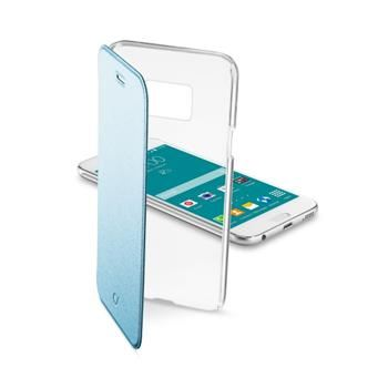 Průhledné pouzdro typu kniha CellularLine Clear Book pro Samsung Galaxy S6, modré