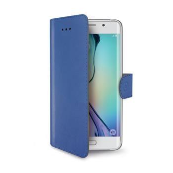 Pouzdro typu kniha CELLY Wally pro Samsung Galaxy S6 Edge, PU kůže, modré