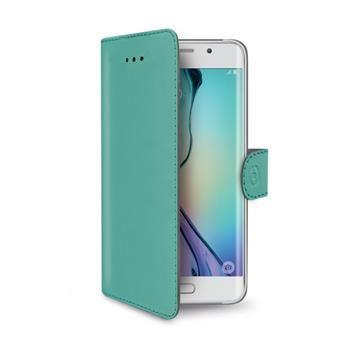 Pouzdro typu kniha CELLY Wally pro Samsung Galaxy S6 Edge, PU kůže, tyrkysové