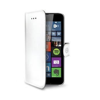 Pouzdro typu kniha CELLY Wally pro Microsoft Lumia 640 / 640 Dual SIM, PU kůže, bílé - pouze pro černou/bílou variantu