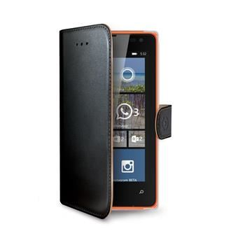 Pouzdro typu kniha CELLY Wally pro Microsoft Lumia 532, PU kůže, černé
