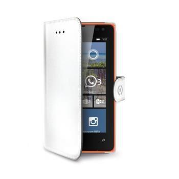 Pouzdro typu kniha CELLY Wally pro Microsoft Lumia 532, PU kůže, bílé