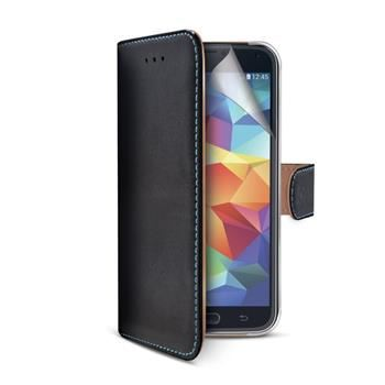 Pouzdro typu kniha CELLY Wally Pelle pro Samsung Galaxy S5 / S5 Neo, pravá kůže, černé