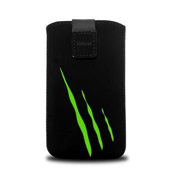Univerzální pouzdro FIXED Velvet, mikroplyš, motiv Green Scratch, velikost XL