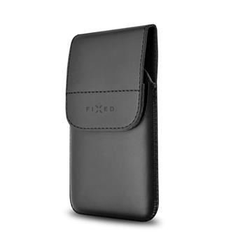 Pouzdro FIXED Pocket s klipem, PU kůže, velikost XXL, černé matné