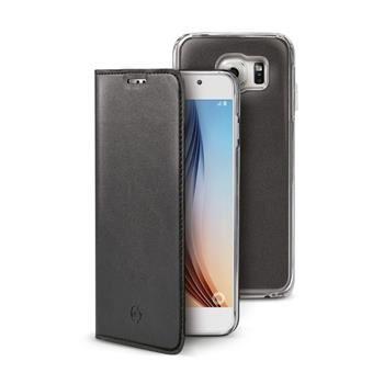 Ultra tenké pouzdro typu kniha CELLY Buddy s odnímatelnou vaničkou pro Samsung Galaxy S6, PU kůže, černé