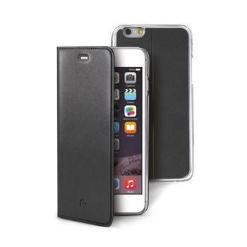 Ultra tenké pouzdro typu kniha CELLY Buddy s odnímatelnou vaničkou pro Apple iPhone 6/6S, PU kůže, černé
