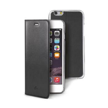 Ultra tenké pouzdro typu kniha CELLY Buddy s odnímatelnou vaničkou pro Apple iPhone 6/6S Plus, PU kůže, černé