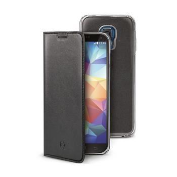 Ultra tenké pouzdro typu kniha CELLY Buddy s odnímatelnou vaničkou pro Samsung Galaxy S5 / S5 Neo, PU kůže, černé