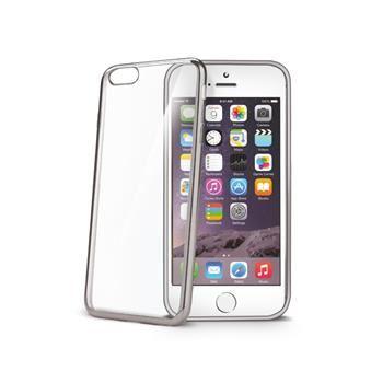 TPU pouzdro CELLY Laser - lemování s kovovým efektem pro Apple iPhone 6/6S, stříbrné