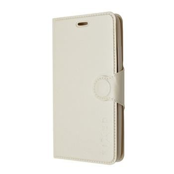 Pouzdro typu kniha FIXED s gelovou vaničkou pro Huawei Y6, bílé