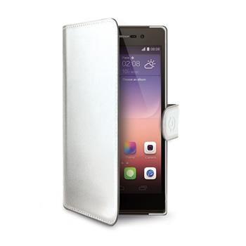 Pouzdro typu kniha CELLY Wally pro Huawei P8, PU kůže, bílé