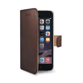 Pouzdro typu kniha CELLY Wally pro Apple iPhone 6 Plus / 6S Plus, PU kůže, hnědé