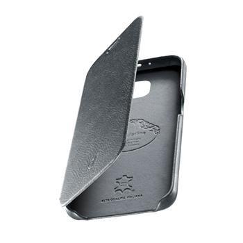 Luxusní pouzdro typu kniha CellularLine SUITE pro Samsung Galaxy S6, pravá kůže, šedé