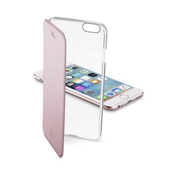 Průhledné pouzdro typu kniha CellularLine Clear Book pro Apple iPhone 6/6S, růžové