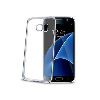 TPU pouzdro CELLY Laser - lemování s kovovým efektem pro Samsung Galaxy S7, stříbrné