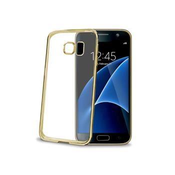 TPU pouzdro CELLY Laser - lemování s kovovým efektem pro Samsung Galaxy S7, zlaté