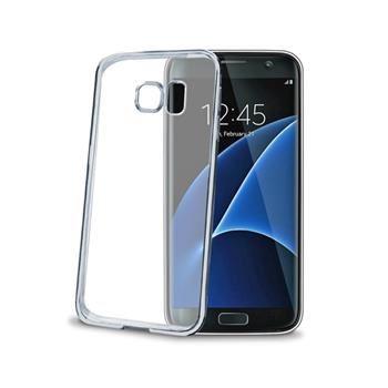 TPU pouzdro CELLY Laser - lemování s kovovým efektem pro Samsung Galaxy S7 Edge, stříbrné