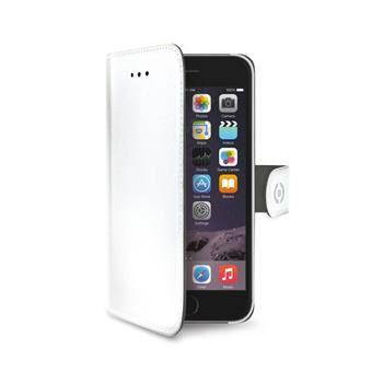 Pouzdro typu kniha CELLY Wally pro Apple iPhone 6/6S, PU kůže, bílé
