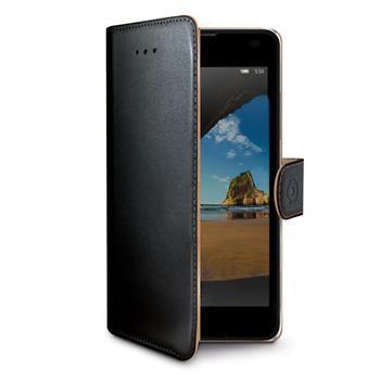 Pouzdro typu kniha CELLY Wally pro Microsoft Lumia 550, PU kůže, černé